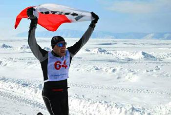 Bartosz Mazerski wygrał bieg maratoński po zamarzniętej tafli jeziora Bajkał