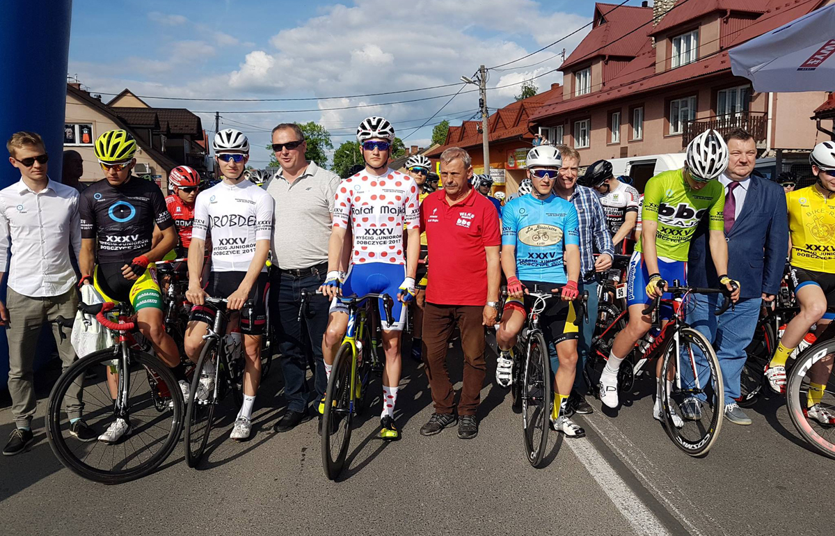 Wojciech Bystrzycki wygrywa XXXV Wyścig Kolarski Dobczyce 2017 izostaje mistrzem Krajowego Zrzeszenia LZS