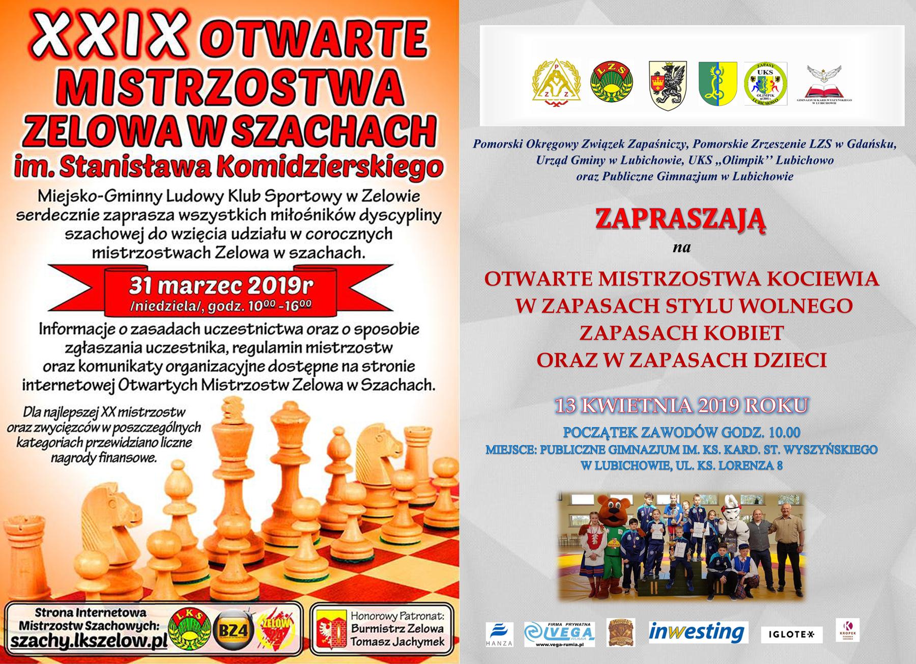 Zaproszenia na turniej szachowy wZelowie iMistrzostwa Kociewia wzapasach