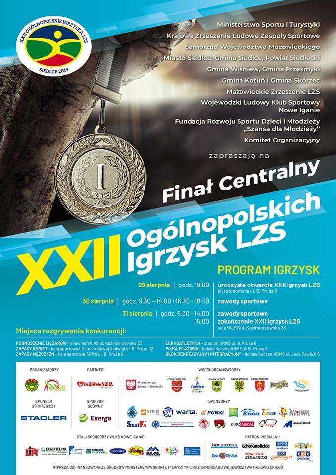 Zapraszamy na XXII OgólnopolskieIgrzyskaLZS — Siedlce2019