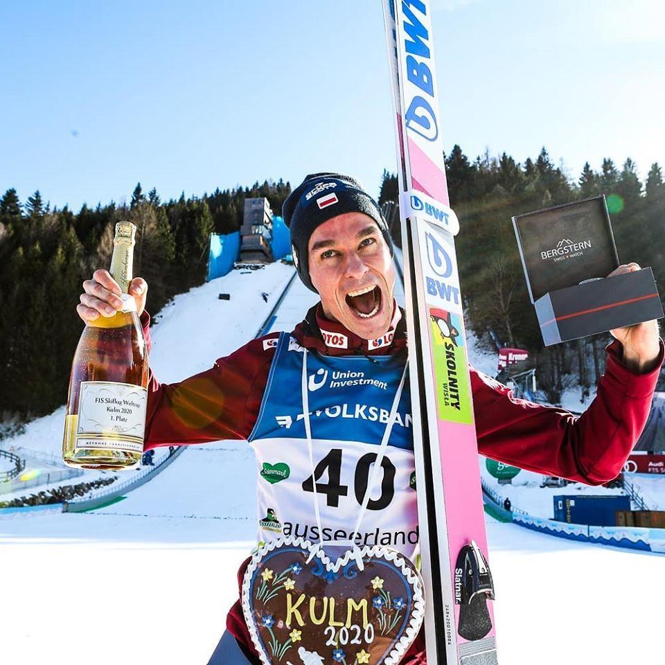 Piotr Żyła wygrywa pierwszy konkurs PŚ wlotach narciarskich wtym sezonie